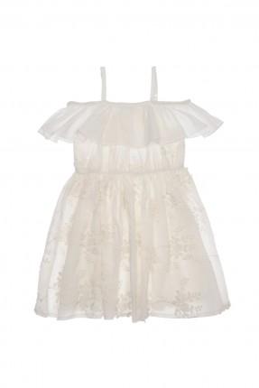 فستان اطفال بناتي مزركش - ابيض