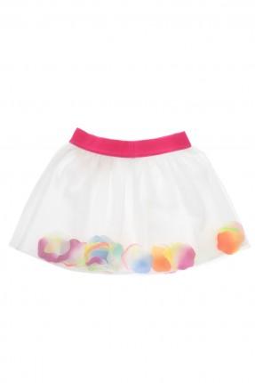 تنورة بيبي بناتي برسوم ملونة - ابيض
