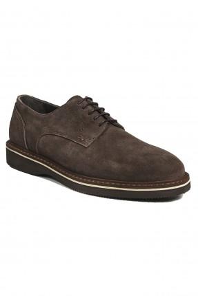حذاء رجالي جلد برباط شيك - بني