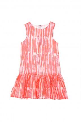 فستان اطفال بناتي مقلم - برتقالي