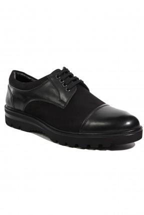 حذاء رجالي جلد رباط - اسود