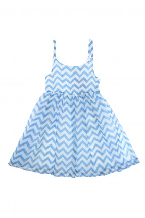 فستان اطفال بناتي بسيط مخطط - ازرق