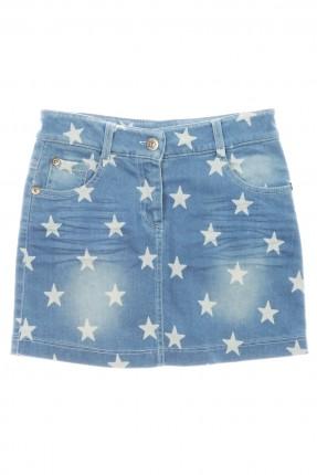 تنورة اطفال بناتي جينز بنجوم بيضاء