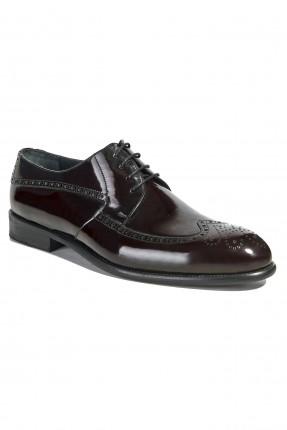 حذاء رجالي جلد لامع رسمي - خمري