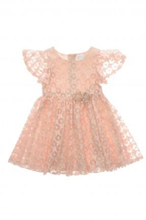 فستان اطفال بناتي بطبقة دانتيل - وردي