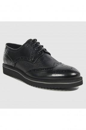 حذاء رجالي جلد مفرغ بسيط سبور - اسود