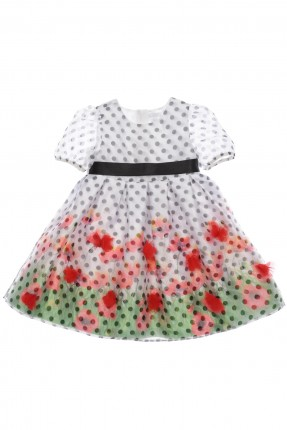 فستان اطفال بناتي منقط بالاسود - ابيض