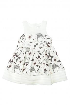 فستان اطفال بناتي مزين بالرسوم - ابيض