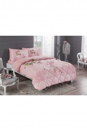 طقم لحاف سرير فردي - وردي