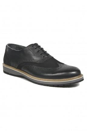 حذاء رجالي مفرغ بسيط رسمي - اسود