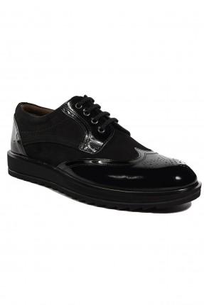 حذاء رجالي جلد مفرغ بسيط - اسود