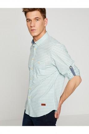 قميص رجالي موديل كاروهات مع جيب _ اخضر
