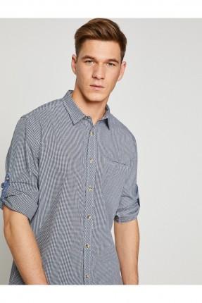 قميص رجالي كاروهات مع جيب _ ازرق داكن