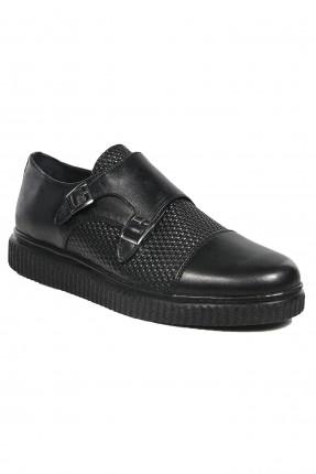 حذاء رجالي جلد مزدوج - اسود