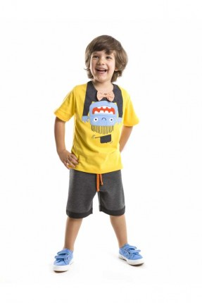 طقم اطفال ولادي - اصفر