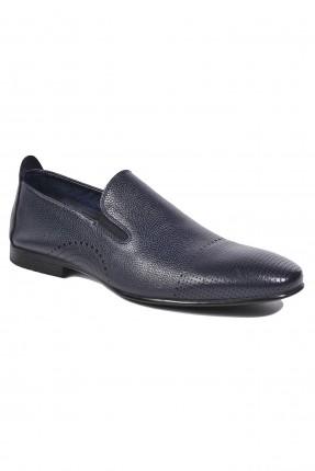 حذاء رجالي جلد مفرغ من الامام والاطراف - ازرق داكن