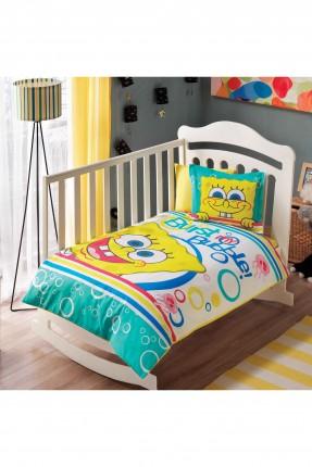 طقم غطاء سرير بيبي - سبونج بوب