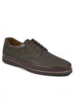 حذاء رجالي جلد برباط سبور - اخضر