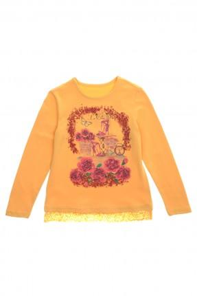 بلوز اطفال بناتي برسمة زهور - اصفر