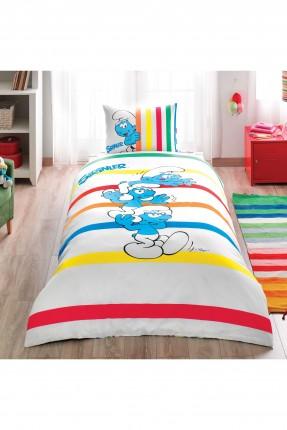 طقم غطاء سرير اطفال ولادي مخطط - سنافر