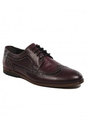 حذاء رجالي جلد مفرغ برباط - خمري