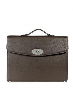 حقيبة يد رجالي جلد كلاسيكي - بني