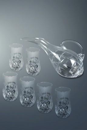 طقم ابريق مع كاسات شراب 6 اشخاص - محفر