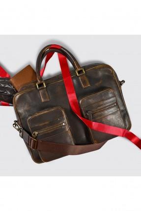 حقيبة يد رجالي بجيبين من الامام - بني