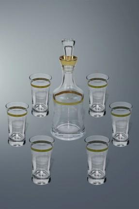 طقم زجاجة مع كاسات شراب 6 اشخاص - مزخرف ذهبي
