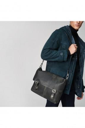 حقيبة يد رجالي حزام كتف باحزمة مزدوجة - اسود