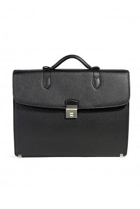 حقيبة يد رجالي جلد بقفل رسمي - اسود