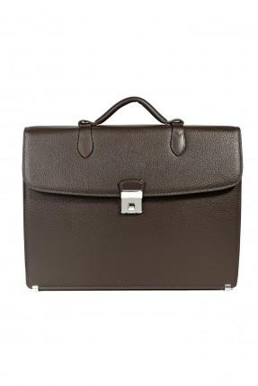 حقيبة يد رجالي جلد بقفل رسمي - بني