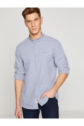 قميص رجالي كارو بجيب جانبي - ازرق فاتح