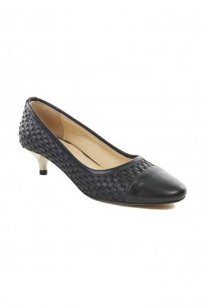 حذاء نسائي جلد مقسم بكعب قصير - اسود