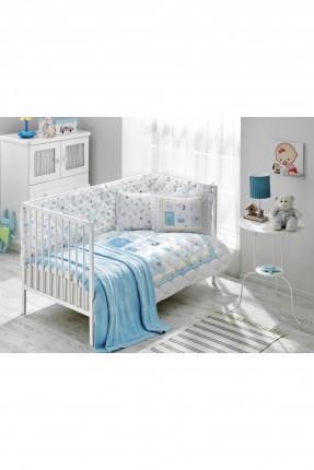 طقم لحاف سرير بيبي مع بطانية زرقاء
