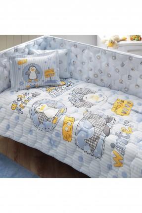 طقم لحاف سرير بيبي - ازرق