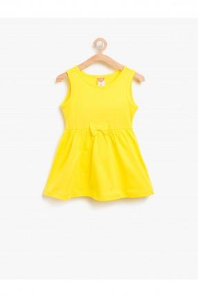 فستان اطفال بناتي بلا اكمام - اصفر