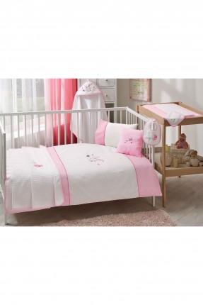 طقم غطاء لحاف سرير بيبي بناتي - وردي