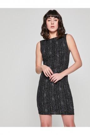 فستان نسائي بسيط بخيوط لامعة - اسود