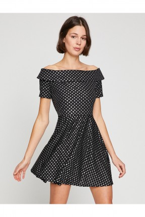 فستان نسائي بسيط منقط - اسود