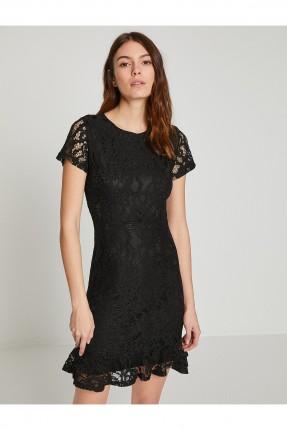 فستان نسائي بطبقة دانتيل - اسود