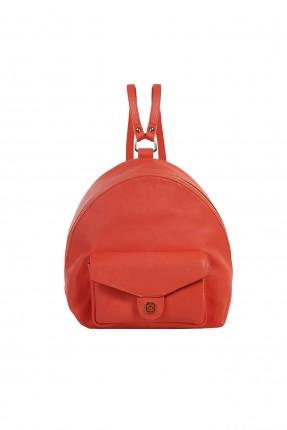 حقيبة ظهر نسائية بجيب غطاء امامي سبور - احمر