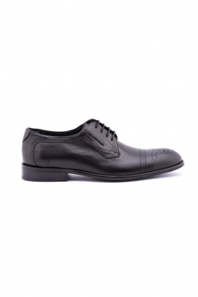 حذاء رجالي بقصة مدببة من الامام ، بتصميم كلاسيكي - اسود