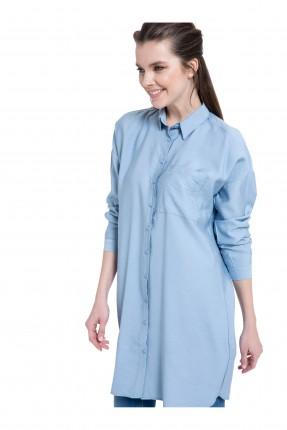 قميص نسائي طويل مع جيب كم طويل