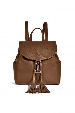 حقيبة ظهر نسائية مزينة كشكش بحزام معدني سبور - بني