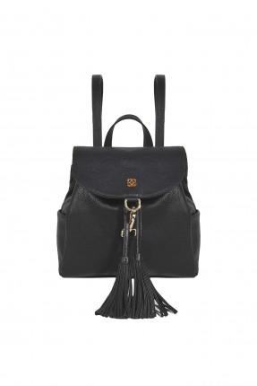 حقيبة ظهر نسائية جلد مزينة كشكشة سبور - اسود