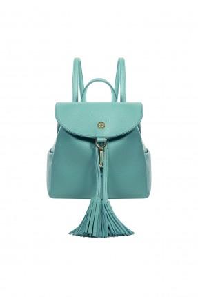 حقيبة ظهر نسائية مزينة كشكش بحزام معدني سبور - ازرق