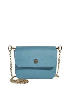 حقيبة يد نسائية بغطاء جلد كلاسيكي - ازرق