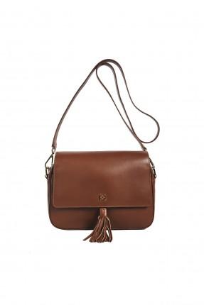 حقيبة يد نسائية جلد مزينة بقطعة كشكشة بحزام كتف سبور  - بني