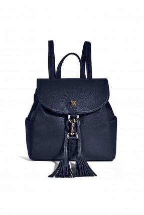 حقيبة ظهر نسائية مزينة كشكش بحزام معدني سبور - ازرق داكن